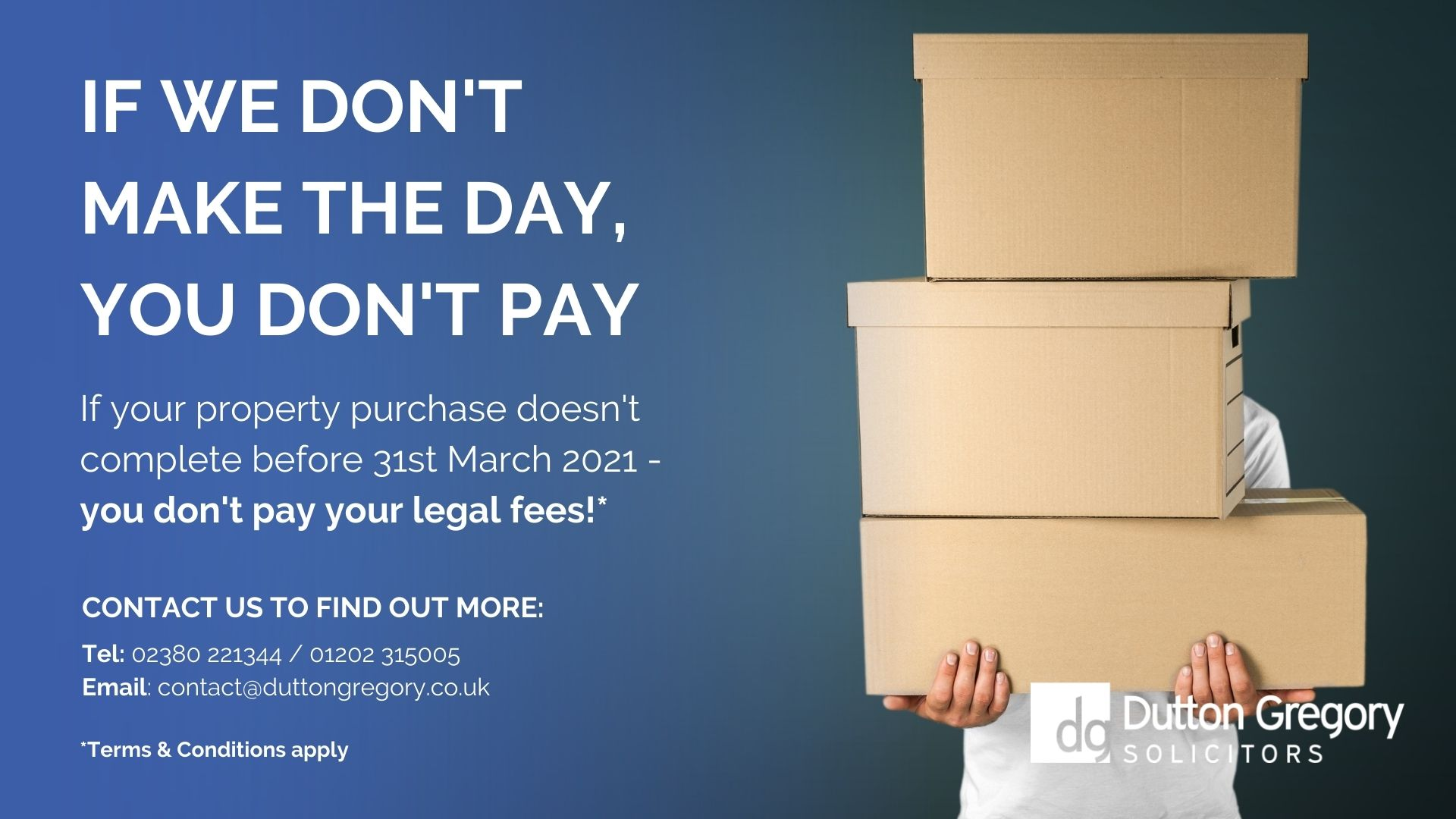 Stamp Duty Holiday: If we dont make the day, you dont pay!
